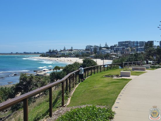 Looking west from the Caloundra Headland Memorial Walkway to Kings Beach.