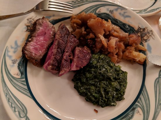 Great Neck, NY: Filet side of my Porterhouse, German fried potatoes, creamed spinach... perfection.