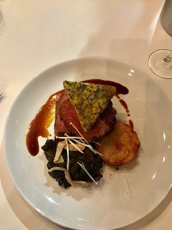 Mudjimba, Australia: 300g Char Grilled Sirloin with Mushroom Ragout, Potato Rosti, Cafe De Paris Butter & Jus