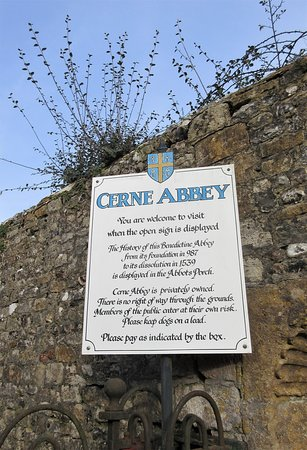 Cerne Abbey: sign