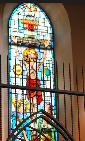 One of the many beautiful stained glass windows found throughout the church