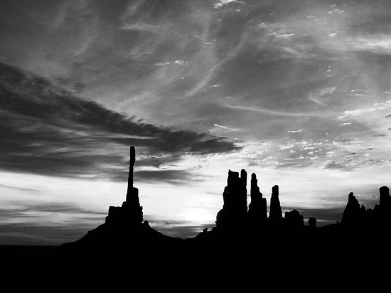 07/19/2018 - Sunrise at Totem Pole (black & white)