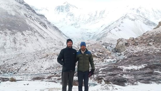 Manang, Nepal: Me and Matt giving pose and smile at Tilicho base camp 4150 metre