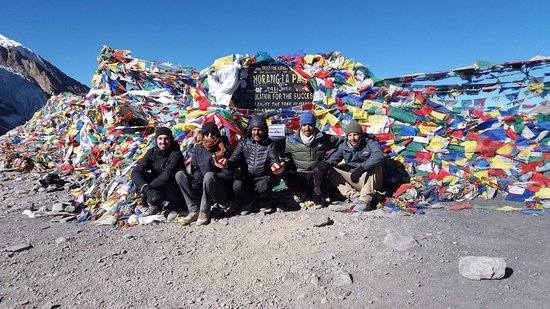Manang, Nepal: Thorang la pass 5416 metre with my group from Australia Matt and mark they were such a good trekkers.Congratulations boys.Thank you laszlo thank you prakash brother  2018 With you .