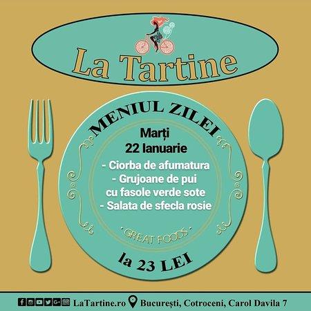 🍴 De la ora 12:00 vă așteptăm #LaTartine #Cotroceni cu #MeniulZilei (#Marți, 22 #Ianuarie) la 23 LEI: - Ciorba de afumatura - Grujoane de pui cu fasole verde sote - Salata de sfecla rosie  * în limita stocului disponibil  #LaTartineCotroceni #București