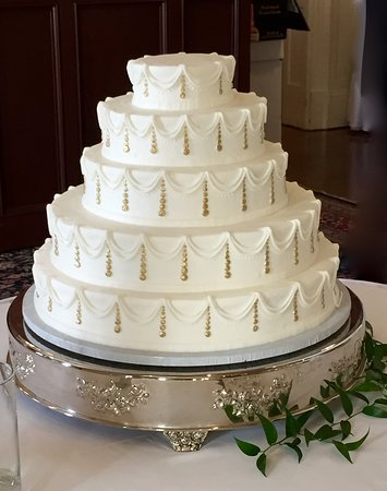 5 Tier Gold Drop Wedding Cake Westhampton Pastry Shop Richmond, VA