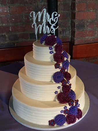 4 Tier Fine Textured Lines With Cascading Purple Flowers Wedding Cake Westhampton Pastry Shop Richmond, VA