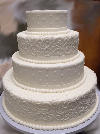 4 Tier Mixed Design All White Wedding Cake Westhampton Pastry Shop Richmond, VA