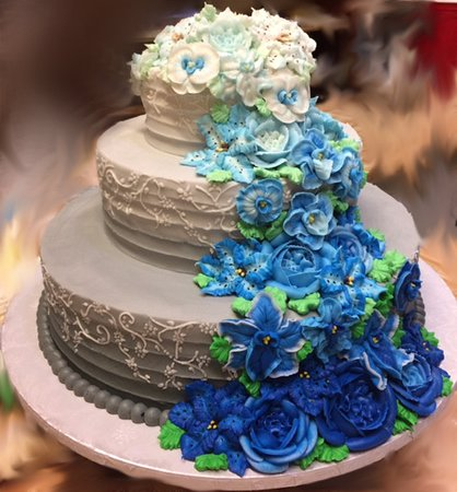 3 Tier Ombre Fine Textured Line Wedding Cake with Cascading Flowers Westhampton Pastry Shop Richmond, VA