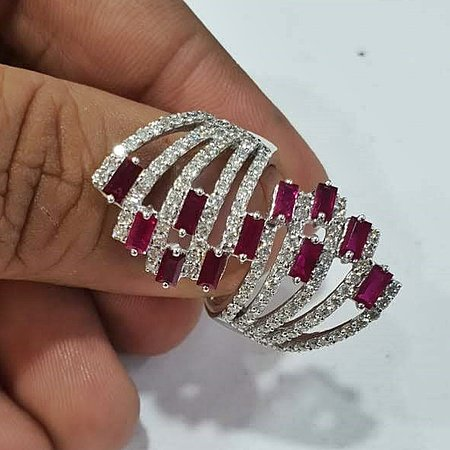 Dev Arts N Jewels: Beautiful contemporary design ruby ring in 18k white gold with diamonds...