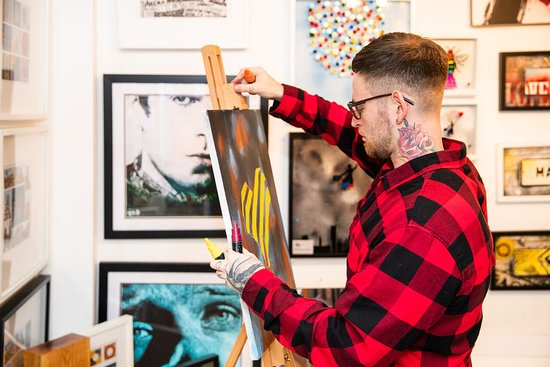 Greater Manchester, UK: Local artists working before your eyes