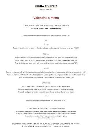 Whalley, UK: Valentine's dinner menu