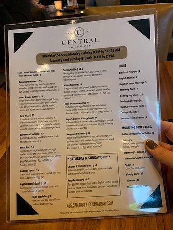 Central Bar + Restaurant : Menu