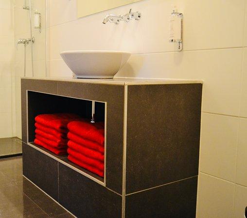 Westvleteren, Belgicko: comfortkamer met douche en open badkamer
