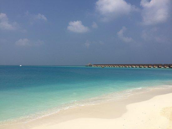 Raa-atollen: Resort beach and lagoon
