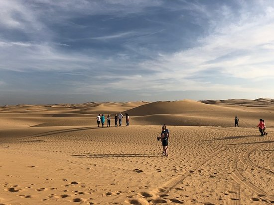 Half-Day Desert Safari from Abu Dhabi: enjoying the dessert half way to our destination