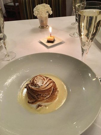 The Grand Tier Restaurant: Baked Alaska....with champagne and a birthday treat!