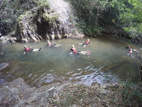 """Highland Sport Travel: floating can be easy but you must to know some basic techniques for nature water sliding that leaning back and relaxing ur boday like """"noodle"""" to prevent injury during #canyoning"""
