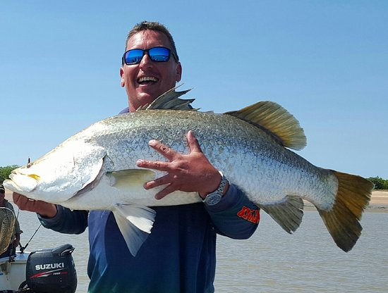 Top End Seafaris: Maurie caught this massive salt water Barramundi on the Tag Along Trip