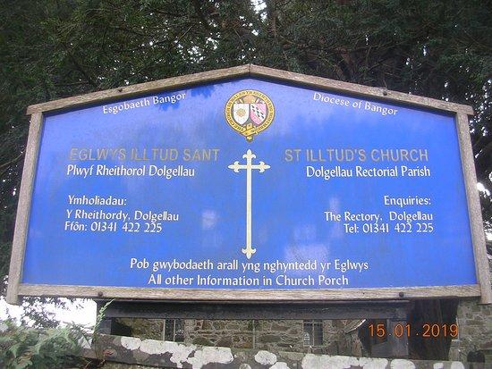 St. Illtud's Church signage (Llanelltyd)