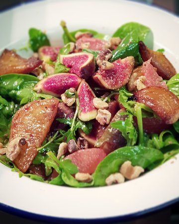 Daily Specials: Caramelised golden beetroot, figs, grapefruit & toasted walnuts.