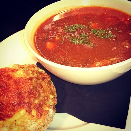 Tasty homemade soup and savoury scone