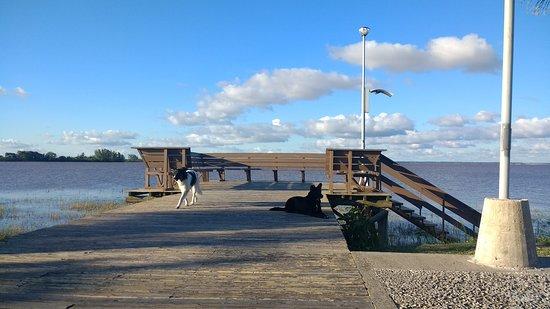 Federación, Argentina: Uno de los descansos en la caminata  por el deck