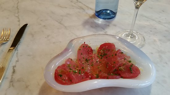 Chubby Fish: Big eye tuna crudo with olive oil,  sea salt,  and chives - one of a choice of daily crudo selections