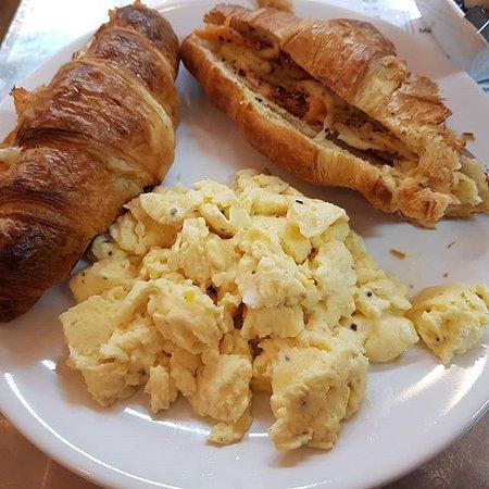 Ickenham, UK : Salmon Croissant with Scrambled Eggs