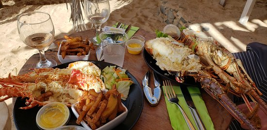 Pinel Island, St Martin / St Maarten: grilled lobster