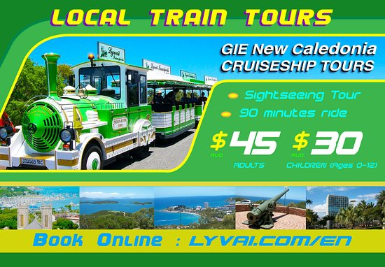 GREEN TRAIN LYVAI Our « Green Train » is a sightseeing tour around the town of Noumea with an English speaking guide. The ride includes 2 stops for about 10 mins. at each of the two lookouts.      The first one at the F.O.L loukout, where you can admire the capital city of Noumea starting with a view of the Coconut Square (Place des Cocotiers),     The second one on the top of Ouen Toro hill (Canon lookout), where you get a breathtaking view of the world largest lagoon and it's surroundings.