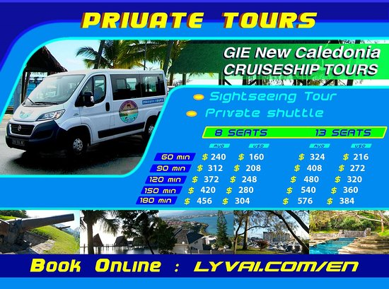 PRIVATE TOUR Explore the city of Noumea and it's surroundings on a private bus with an English speaking guide. Durations of the tours may vary depending on passenger's choices of destinations.  Any special requests to visit any particular places or areas can be taken into account when booking.