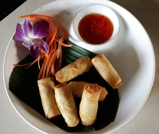 Spring Rolls And Sweet Chili Sauce Picture Of Tip S Tacos And Thai Food Maret Tripadvisor