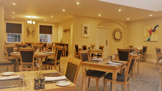 Light and airy contempory Restaurant, relaxed atmosphere with gentle lighting.