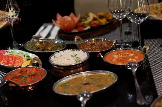 Elegant Indian food in Indian restaurant gandhi at amsterdam.