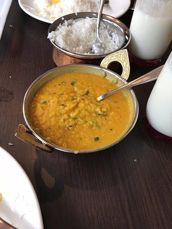 Dal, rice and sweet lassi