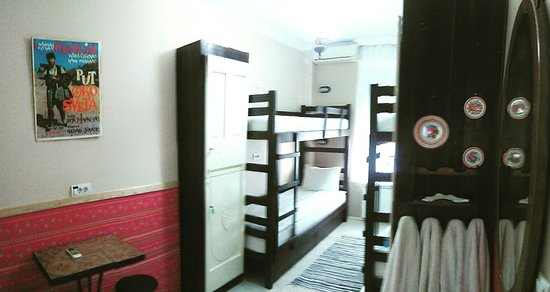 Four bed room with bunk beds.