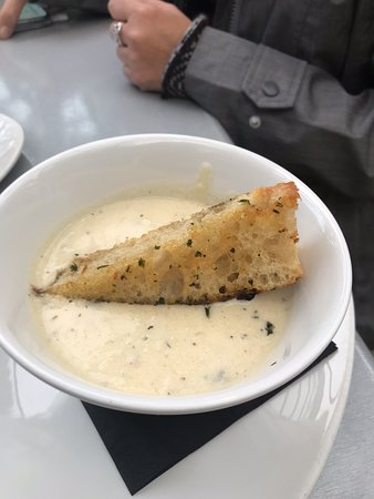 The clam chowder was warm and hit the spot on this rather blustery days.