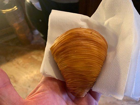 Sfoliatela (say shfoliatella) - goes well with the nuts espresso