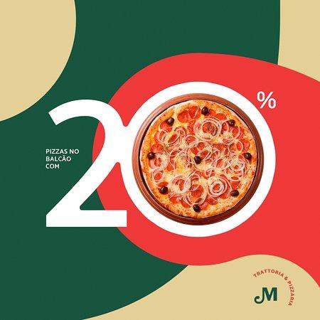 De terça a domingo todas as pizzas retiradas no balcão tem 20% de desconto! Aproveite! 🍕 3029-2800