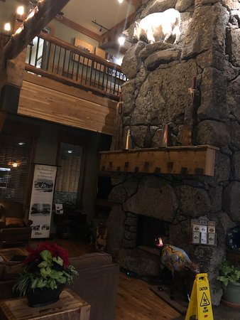 Three Bear Lodge : Beautiful fireplace right in front of check in.