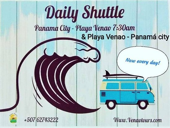 Daily 7:30 am shuttle from Panama City to Playa Venao!