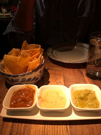 Chips with 3 salsa, all excellent