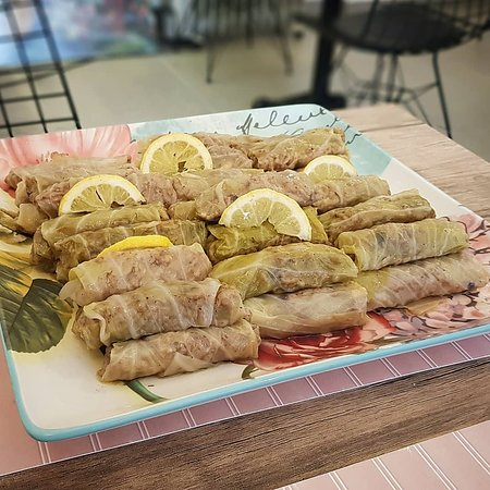"""Yaska Ev Yemekleri: This dish is called """"Zeytinyağlı Lahana Sarması"""" as you can imagine it's similar to """"Lahana Sarması"""" but the main difference is this cabbage wrap only has rice and pine nuts in it. It's also consumed cold."""