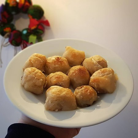 """Yaska Ev Yemekleri: This meal is called """"Boşnak Mantısı"""" not a Turkish cousine meal. It's a Bosnian meal that is hard to make and takes a lot of practice to get good at this dish. We highly recommend trying this dish if you come up to it."""