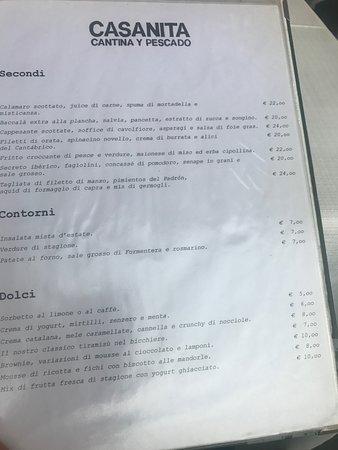Casanita Cantina y Pescado: menù
