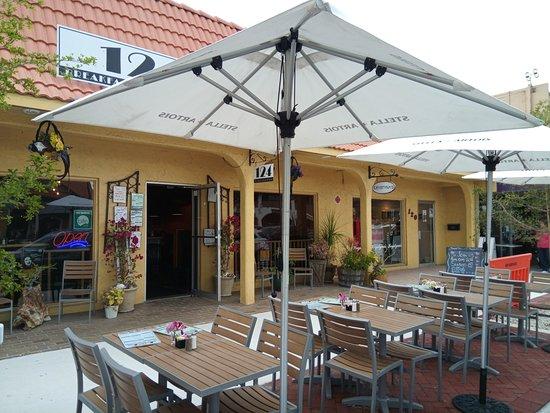 Outdoor patio in front of restaurant