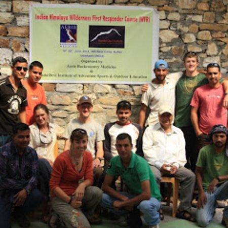 Nanda Devi Institute of Adventure Sports: Wilderness First Responder Course participants with instructors at NDI base camp Kuflon, Uttarkashi
