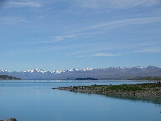 Lake Tekapo with snow mountains