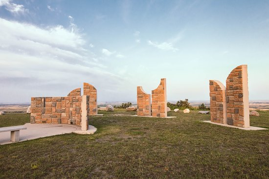 """Mystical Horizons, the """"Stonehenge"""" of the prairie, near Bottineau & Lake Metigoshe. Based on local engineer and designer Jack Olson's vision for a 21st-century Stonehenge, the Mystical Horizons site offers a breathtaking view overlooking the farmland west of the Turtle Mountains. The stone and cement structures are designed so that visitors can view the summer and winter solstices and the equinox. Throughout the year, site goers can enjoy the North Star Polaris Sighting Tube and the sundial."""